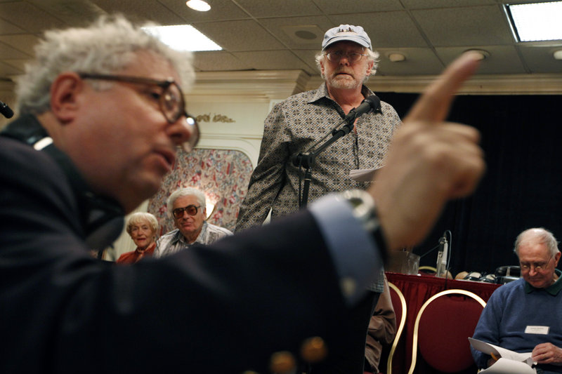 """Writer Edgar Farr Russell III directs Russell Horton, center, as Jughead Jones, during rehearsal of his """"Radio Goes to War"""" episode Friday at the Friends of Old-Time Radio convention in Newark, N.J."""