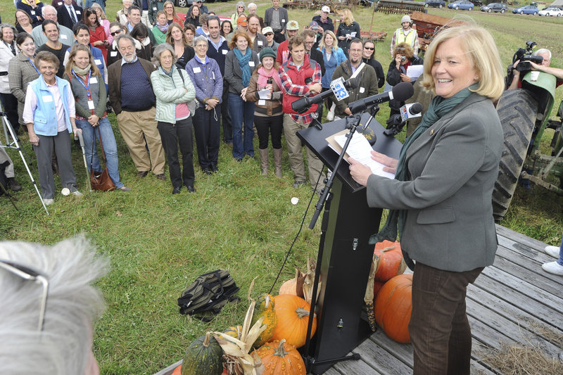 U.S. Rep Chellie Pingree, an organic farmer, introduces the Local Farms, Food and Jobs Act on Monday at Jordan's Farm in Cape Elizabeth.