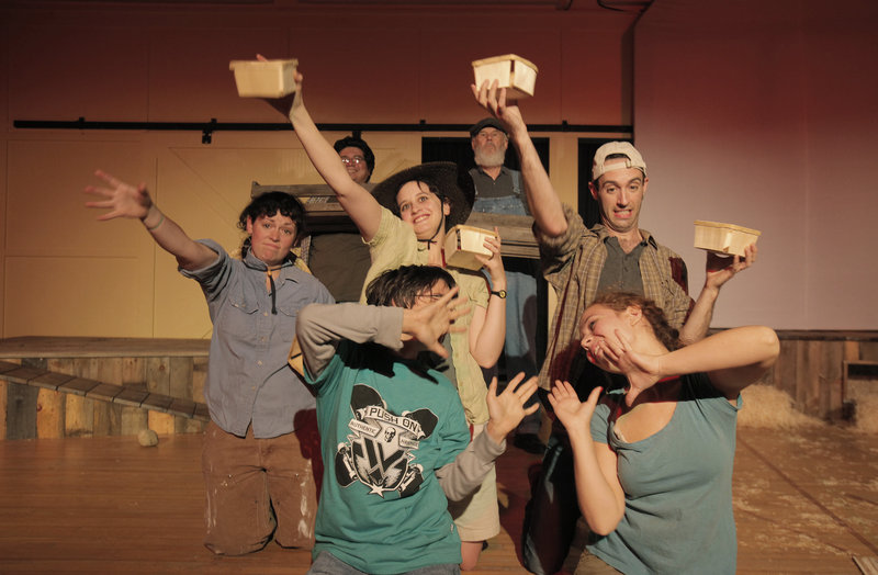 """Members of the cast of """"Farms and Fables"""" rehearse a scene of the play at Camp Ketcha in Scarborough on Wednesday. It is an original play, written by Cory Tamler, about farms and the farmers who work the land. In the front row, from left, are Jesse James and Emma Payton Cooper; in the middle row are Claire Guyer, Anna Barnett and Chris Reiling; in the back are Jae Rodriguez and Harley Marshall."""