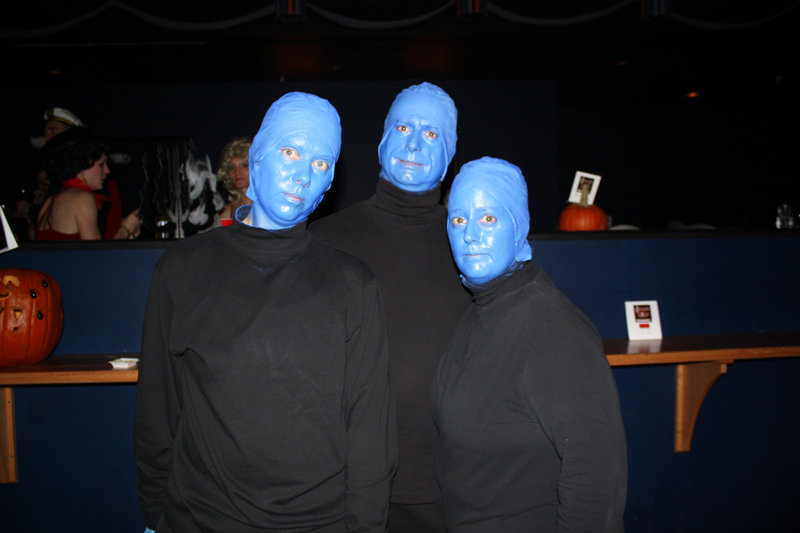 Best Group Theme winners and Old Orchard Beach residents Cindy Curran, Michael Clavet and Miranda Rooney, dressed as Blue Man Group.