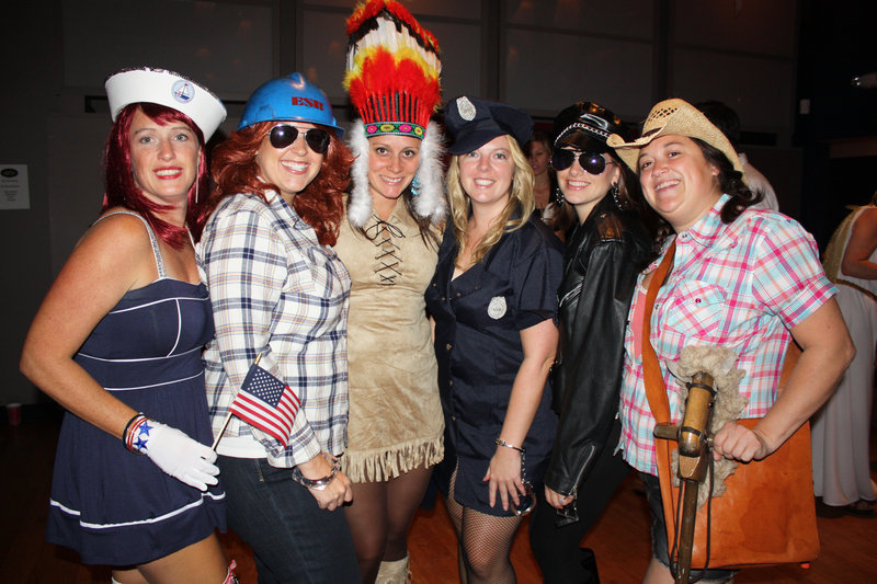 Ondrea Gallivan, Rhiana Leavitt, Christina Iannucci, Liz Smith, Danielle Robinson and Julie Lannon dressed as The Village People.