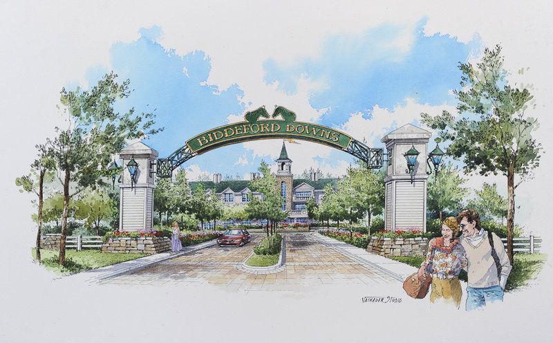 An artist's rendering shows what the entrance to the proposed Biddeford Downs might look like. Statewide approval of allowing a slot machine facility at the proposed track as well as at one in Washington County is on the ballot Nov. 8.