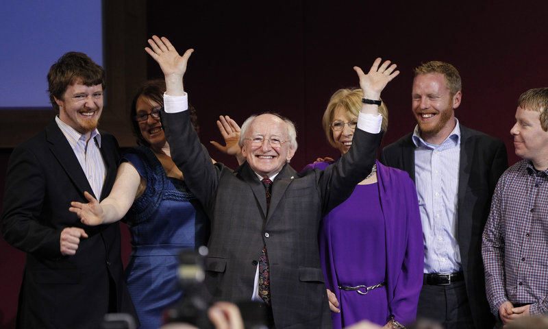 Michael Higgins and supporters