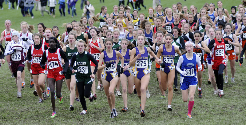 The Cheverus girls started as a pack up front and finished as a pack Saturday to win their third straight Class A state championship. The Stags finished with four runners in the top six.