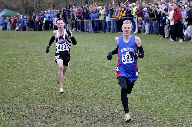 Nick Morris of Scarborough, left, gains in the stretch and at the finish line, just beat Harlow Ladd of Messalonskee to repeat as the Class A state champion Saturday.