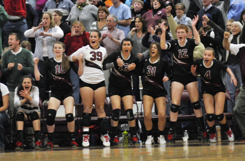 The Greely bench reacts as the Rangers score the points that close out Scarborough on Saturday in the Class A volleyball final, clinching an eighth title in nine years.