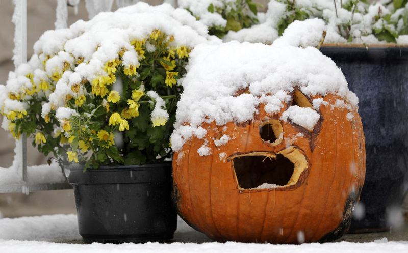 A jack-o'-lantern is covered with snow during a rare October snowstorm that hit the Northern New Jersey region today in North Bergen, N.J. A classic nor'easter is moving along the East Coast and is expected to dump anywhere from a dusting of snow to about 10 inches throughout the region starting today, a decidedly unseasonal date for a type of storm more associated with midwinter.