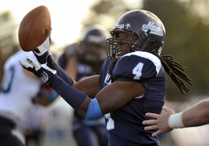 Maine linebacker Vinson Givans, intercepting a URI pass Saturday, and his teammates head to Richmond, Va., this week as the No.9 team in the FCS.