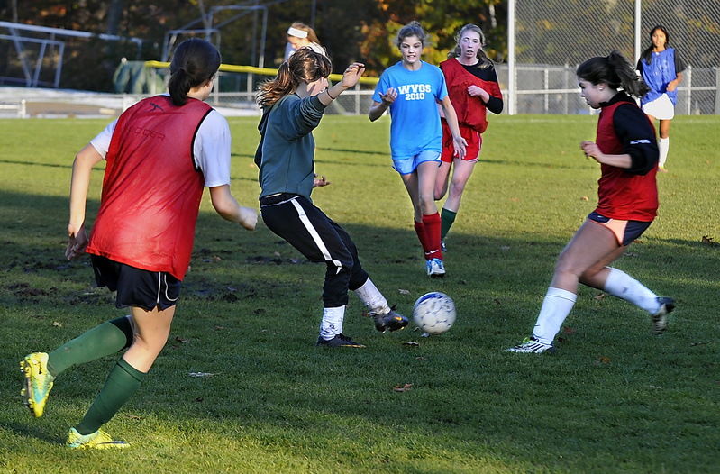 The Waynflete girls may have been practicing on grass at their regular field Tuesday, but they will be playing on turf today at Fitzpatrick Stadium when they take on St. Dominic at 3 p.m. for the Western Class C soccer championship and a berth in the state final.