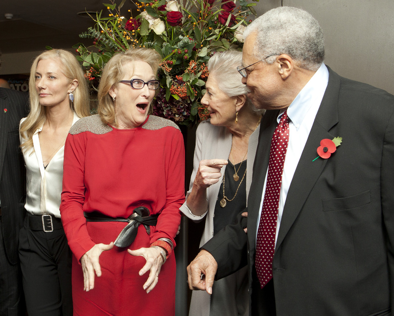 British actress Joely Richardson, left, looks on as Oscar-winning British actress Vanessa Redgrave, second from right, points out American actor James Earl-Jones to Meryl Streep on Sunday in London at a tribute to Redgrave, called