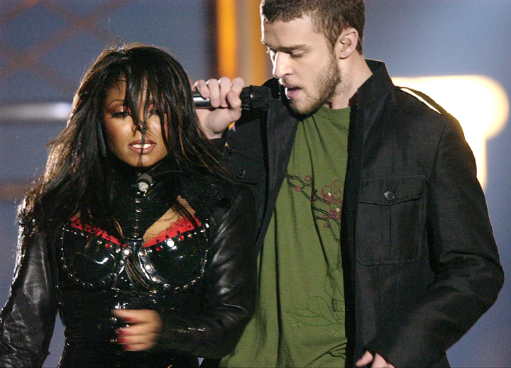 In this Feb. 1, 2004, photo, singers Justin Timberlake and Janet Jackson perform during half time at Super Bowl XXXVIII in Houston.