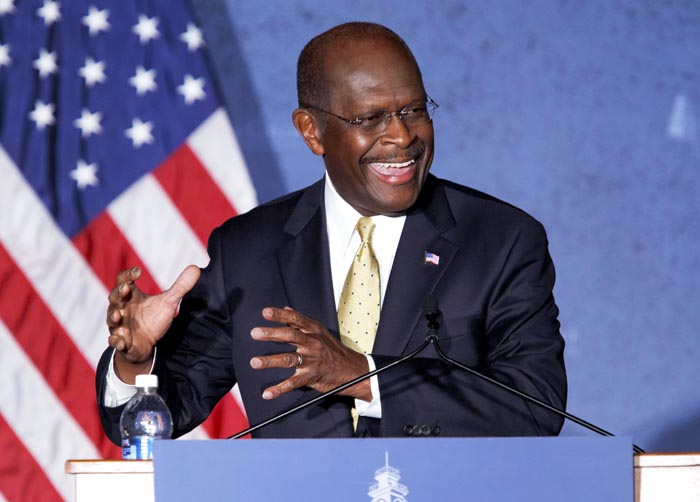 Republican presidential candidate Herman Cain speaks Tuesday at Hillsdale College in Hillsdale, Mich., where he delivered a speech on national security.
