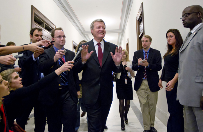 Supercommittee member and Senate Finance Committee Chairman Sen. Max Baucus, D-Mont., fends off reporters as he arrives to meet in the Capitol Hill office of Sen. John Kerry, D-Mass., with other Supercommittee members as time for action by the deficit reduction panel grows short today.