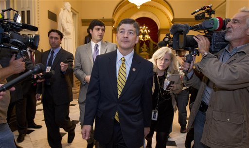 Rep. Jeb Hensarling, R-Texas, co-chair of the Joint Select Committee on Deficit Reduction, leaves a meeting with House Speaker John Boehner, R-Ohio, on Wednesday.