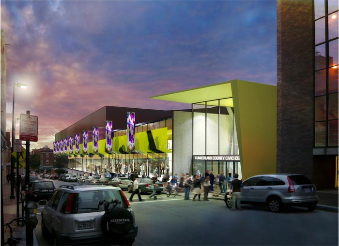 Artist's conception of the Free Street side of a renovated civic center.