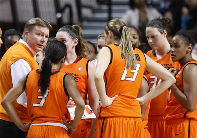 In this Nov. 9, 2011 file photo, Oklahoma State head coach Kurt Budke, left, talks to his team during a time out in an exhibition college basketball game against Fort Hays State in Stillwater, Okla. Oklahoma State University says Budke and assistant coach Miranda Serna were killed in a plane crash in central Arkansas. The university said in a news release Friday, Nov. 18, 2011 that the two were on a recruiting trip to Arkansas when the plane crashed near Perryville, about 45 miles west of Little Rock. (AP Photo/Sue Ogrocki, File)