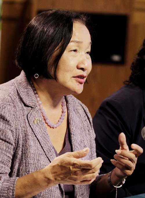 Mayor Jean Quan answers questions from reporters recently during a media conference in Oakland, Calif.
