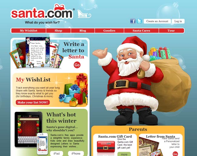 This screen shot shows the Santa.com website. At Santa.com, a few clicks lays it all out on a page with a menu of prices for customizable letters from Santa.