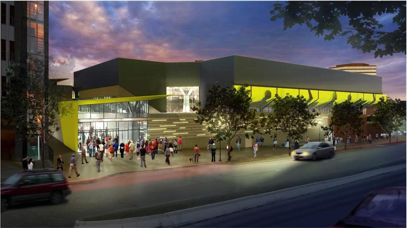Artist's conception of the Spring Street side of a renovated civic center.