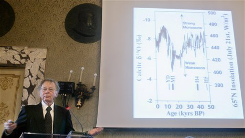 In this Friday, Nov. 21, 2008 file photo, climate scientist Wally Broecker of New York's Columbia University addresses the audience during the Rome ceremony at which he was awarded a Balzan Prize for outstanding scientific achievement. Although researchers overwhelmingly agree that manmade greenhouse gases are warming the planet, causing climate change, resistance to the idea appears to have hardened among many Americans.