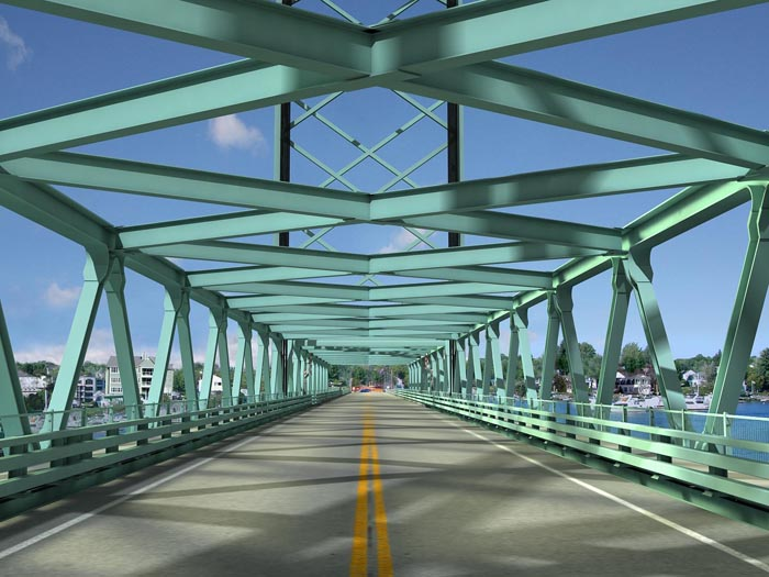 Computer-generated rendering shows motorist's view of the proposed new bridge.