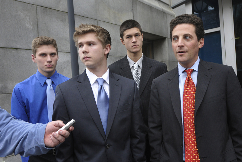 A letter writer says the Maine Principals' Association was wrong not to let hockey players, from left, Jackson Stevens of Cape Elizabeth, and A.J. Asbury and Anthony Verville, both of Portland, play hockey on a Deering-Portland High co-op team. At right is attorney Paul Greene.