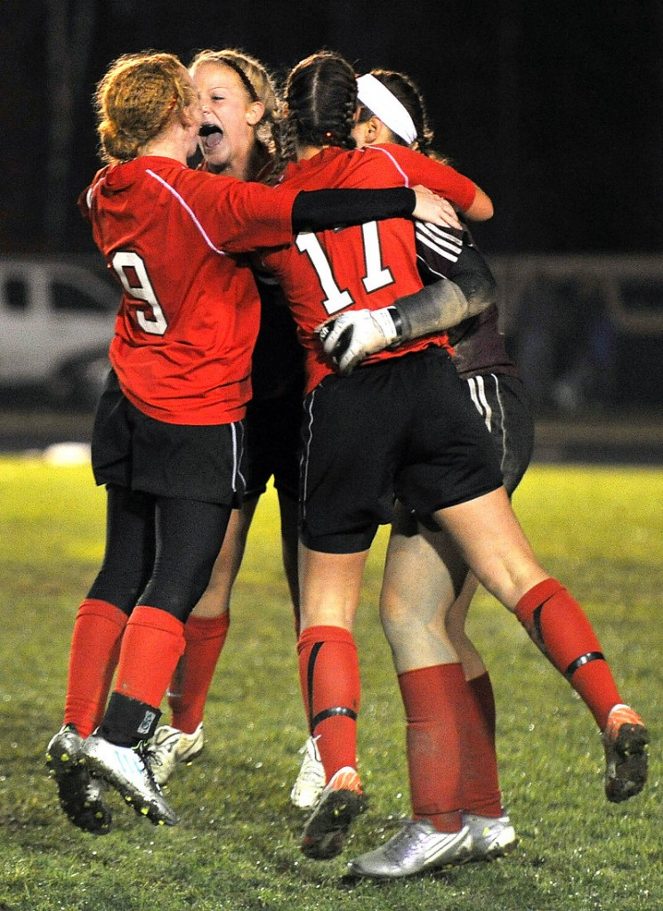 Seconds after the winning goal was scored, the game was over Wednesday night and Scarborough was celebrating its Western Class A girls' soccer title with a 1-0 win over previously unbeaten Gorham.