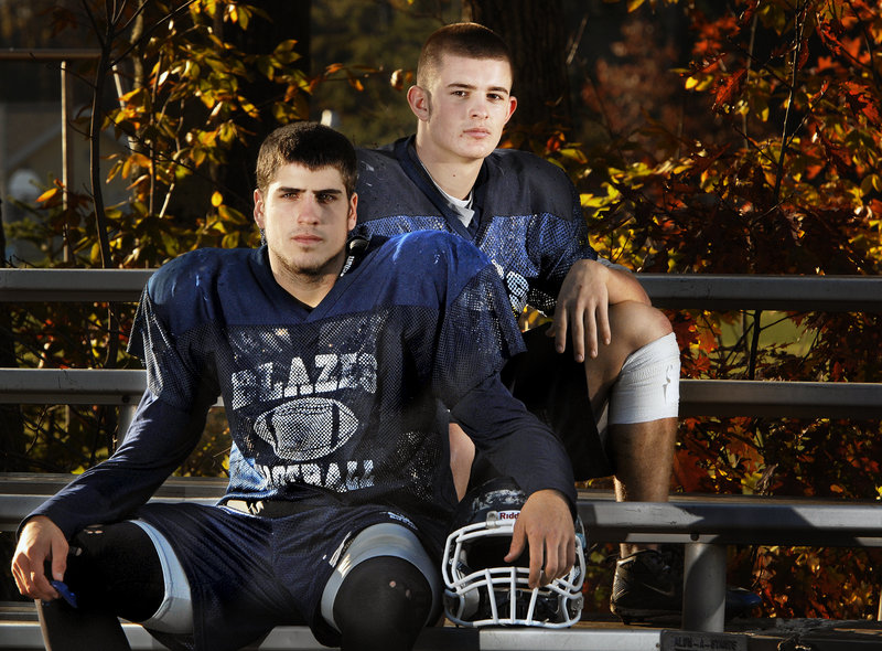 Quarterback Terry Webber, left, and fullback/linebacker Graham Strondak are two of the main reasons Westbrook has made it to the Western Class B semifinals against unbeaten Wells.