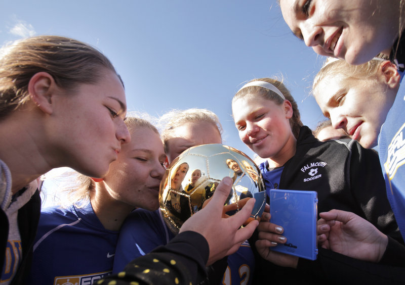 The Gold Ball was a reflection of the Falmouth girls soccer program: The Yachtsmen endured heavy graduation losses and a new coach, and yet repeated as Class B champions Saturday with a 1-0 victory against Presque Isle.