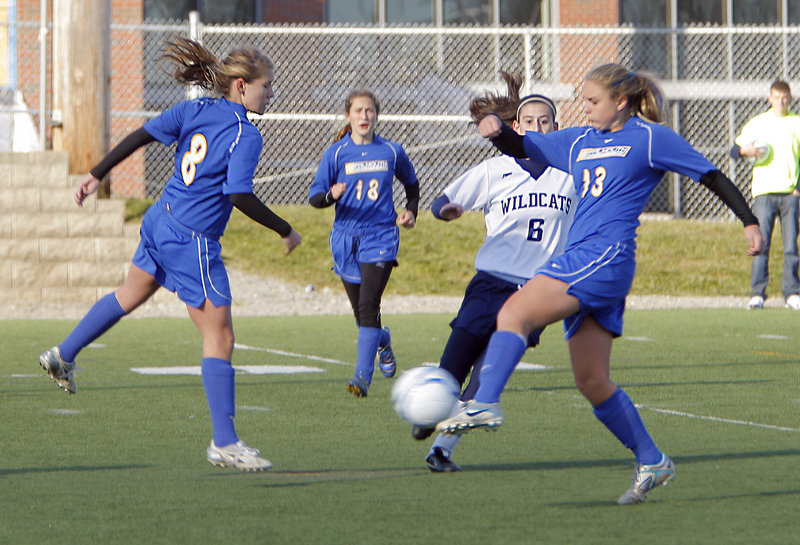 Alex Bernier of Falmouth sends in the shot that resulted in the only goal of the game against Presque Isle.