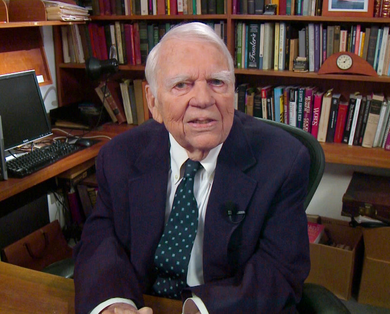 "In this Aug. 23, 2011, file image taken from video and provided by CBS, Andy Rooney tapes his last regular appearance on ""60 Minutes"" in New York. Rooney died Friday night at the age of 92."