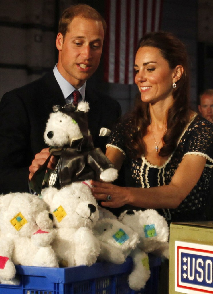 Prince William, and his wife Kate, visit Sony Studios in Culver City, Calif., last summer, where they toured a facility that was sending stuffed bears to children in military families.