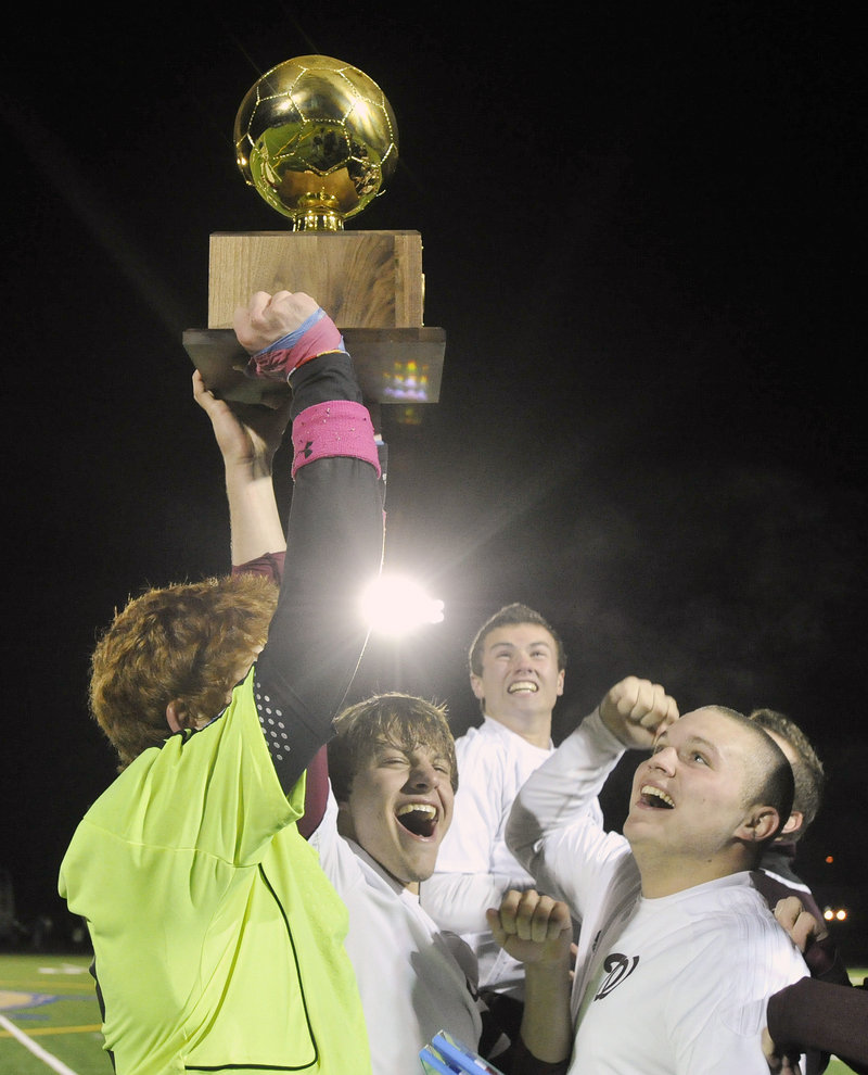 Windham had never won a boys soccer state championship until Saturday, when the Eagles beat Messalonskee 3-1 in the Class A final at Falmouth High.