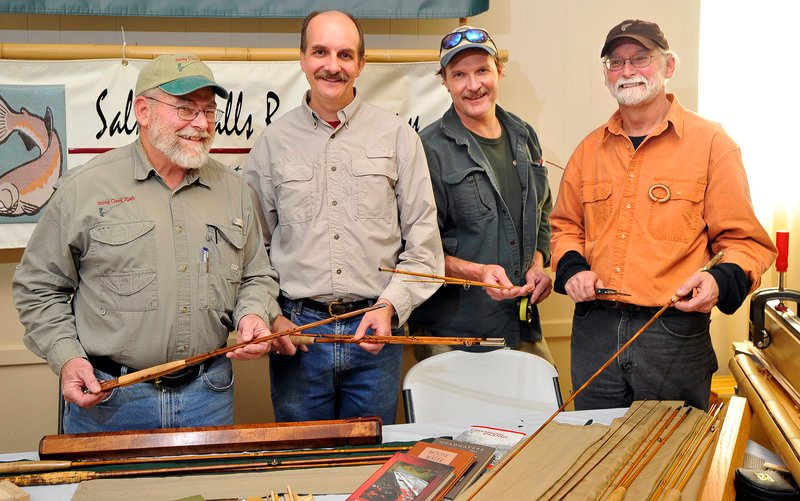 Four leading bamboo rod makers display their wares at the recent Fly Fishing Symposium at the Maine Military Museum in South Portland. They are, from left to right, Tom Whittle of Boothbay Harbor, Scott Chase of Scarborough, Joel Anderson of Auburn and David Van Burgel of Mercer.
