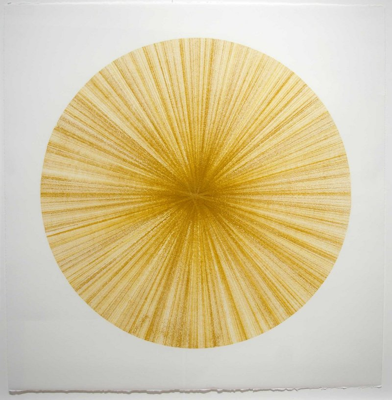 Untitled (yellow radial) by August Ventimiglia at the June Fitzpatrick Gallery at MECA in Portland.