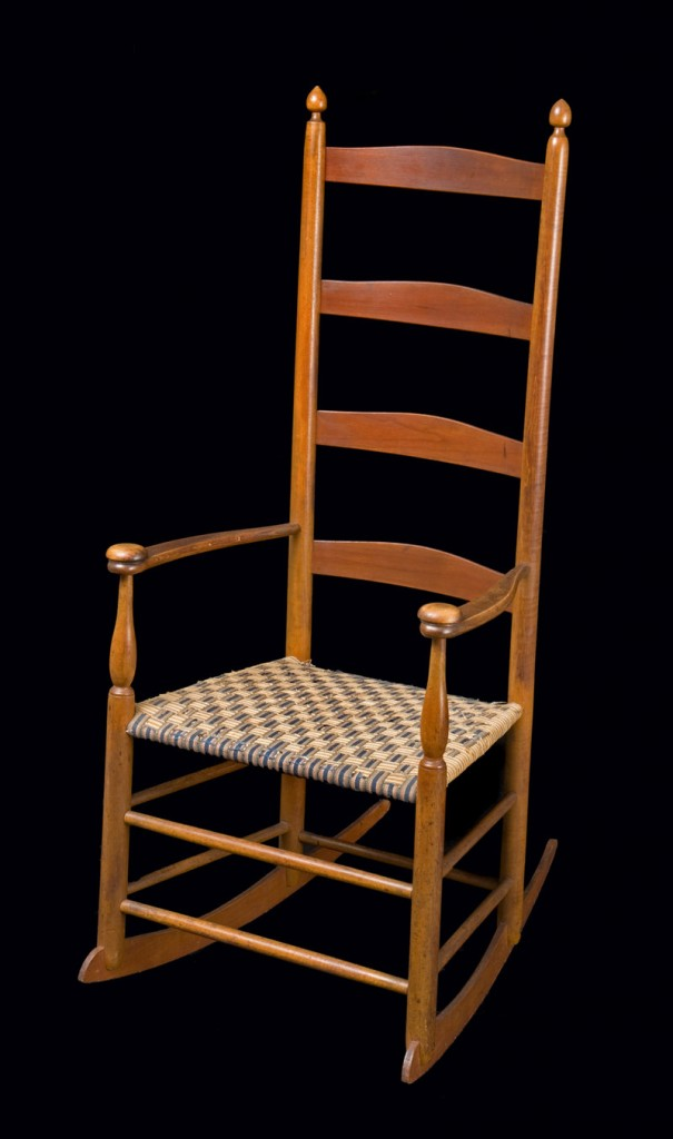 Chair from the exhibition of Shaker items at the Portland Museum of Art.