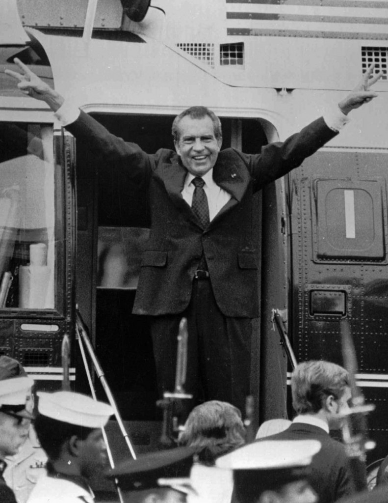 Richard Nixon says goodbye to members of his staff outside the White House in Washington on Aug. 9, 1974.