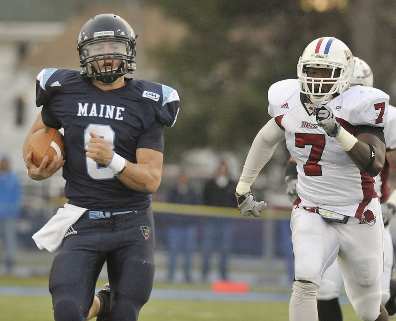 Maine quarterback Warren Smith has his team headed in the right direction – toward the NCAA playoffs.