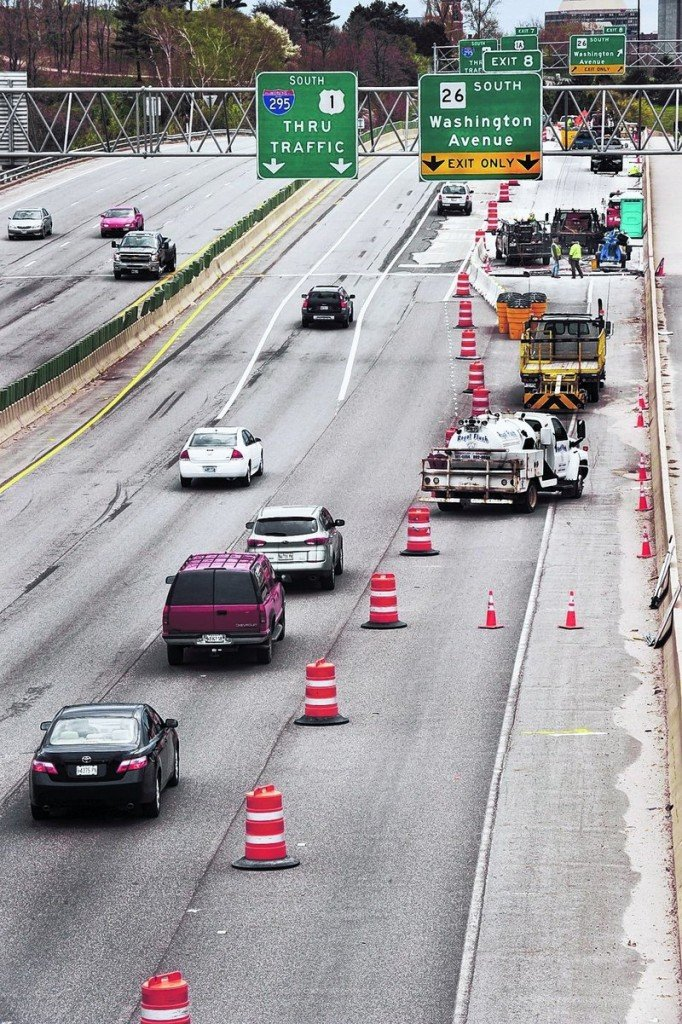 Traffic flow on Portland's Tukey's Bridge was disrupted this past summer for repair work. Construction crews will return next spring to repair other bridges and to pave the section of Interstate 295 located south of Tukey's Bridge.