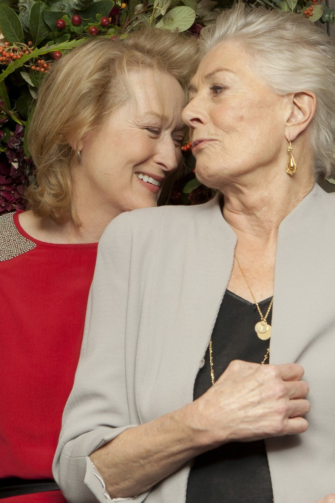 "Meryl Streep, left, talks to Vanessa Redgrave at ""An Academy Salute to Vanessa Redgrave"