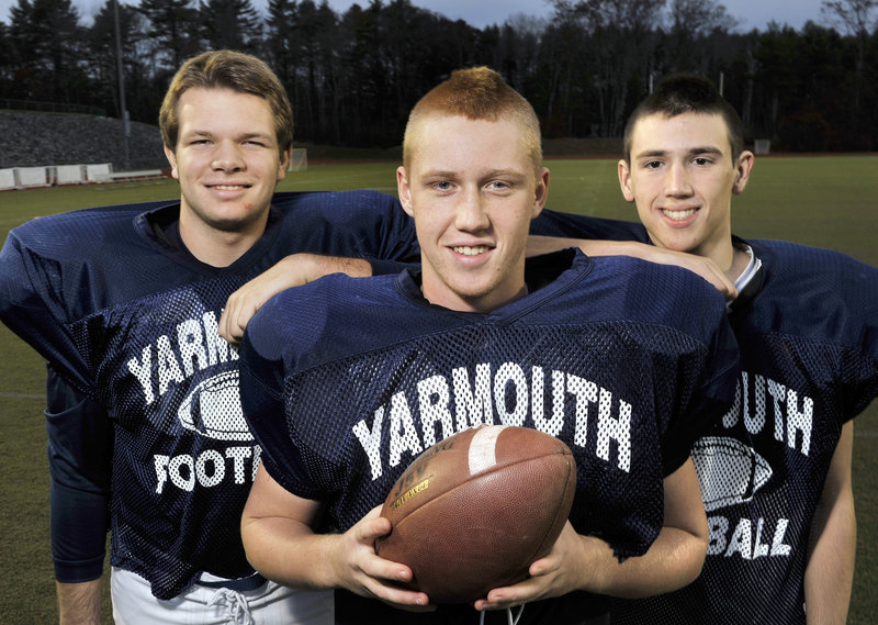The Yarmouth line takes pride in opening the holes that the running backs have exploited. Included on the line are, from left, Ben Weinrich, Tommy Lord and Jacob French.