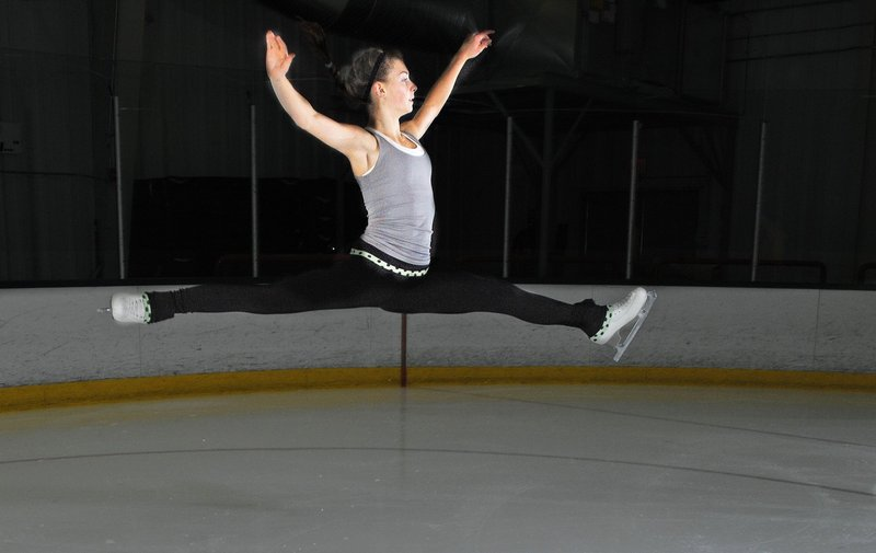 Photos by Gabe Souza/Staff Photographer Morgan Sewall, a 14-year-old freshman at Scarborough High, will compete today and Friday in the novice division of the Eastern figure skating championships in Jamestown, N.Y. The top four skaters in her division will advance to the nationals in San Jose, Calif.