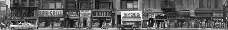 """6th Avenue Between 43rd and 44th Street, New York,"" 1948, a photographic panel made of eight vintage gelatin silver prints."