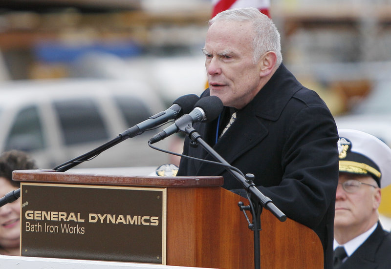 "Retired Marine Corps Lt. Col. James G. Zumwalt speaks at Thursday's ceremony. Zumwalt said that as chief of naval operations in the 1970s, his father, the late Adm. Elmo ""Bud"" Zumwalt, ""was no traditionalist. ... He shook the Navy up, dragging it, as Time magazine describes, 'kicking and screaming into the 20th century.'"""