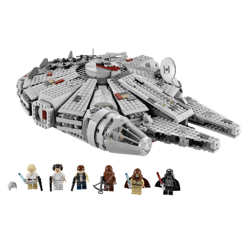"LEGO STAR WARS MILLENNIUM FALCON: Toys R Us describes the toy set as being ""straight from the Death Star escape scene of 'Episode IV: A New Hope.' "" It includes details such as twin flick missiles, rotating quad laser cannons and a detachable cockpit cover, and includes Han Solo, Luke Skywalker, Chewbacca, Ben Kenobi, Princess Leia Organa and Darth Vader figures. Listed at $129.99 on toysrus.com."