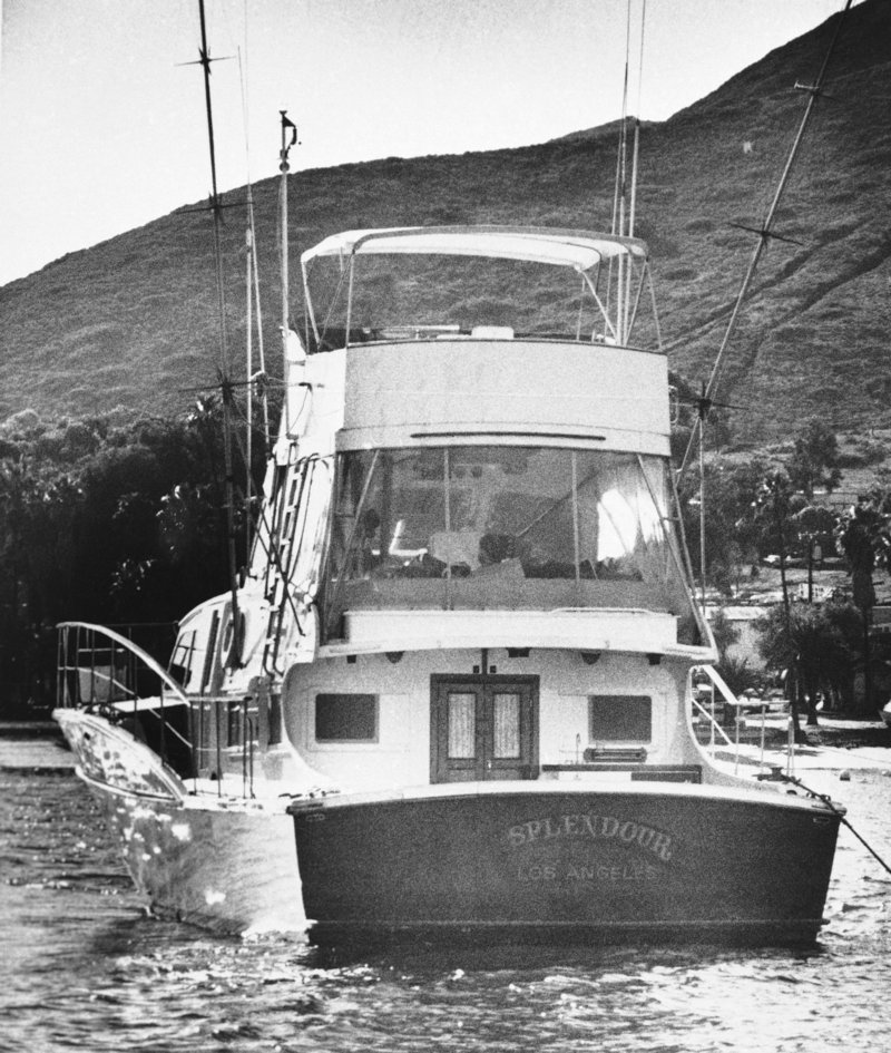 Splendour, the 55-foot yacht that belonged to actor Robert Wagner and his wife, actress Natalie Wood, sits in the waters of Santa Catalina, Calif., near where Wood's body was found floating on Nov. 29, 1981.