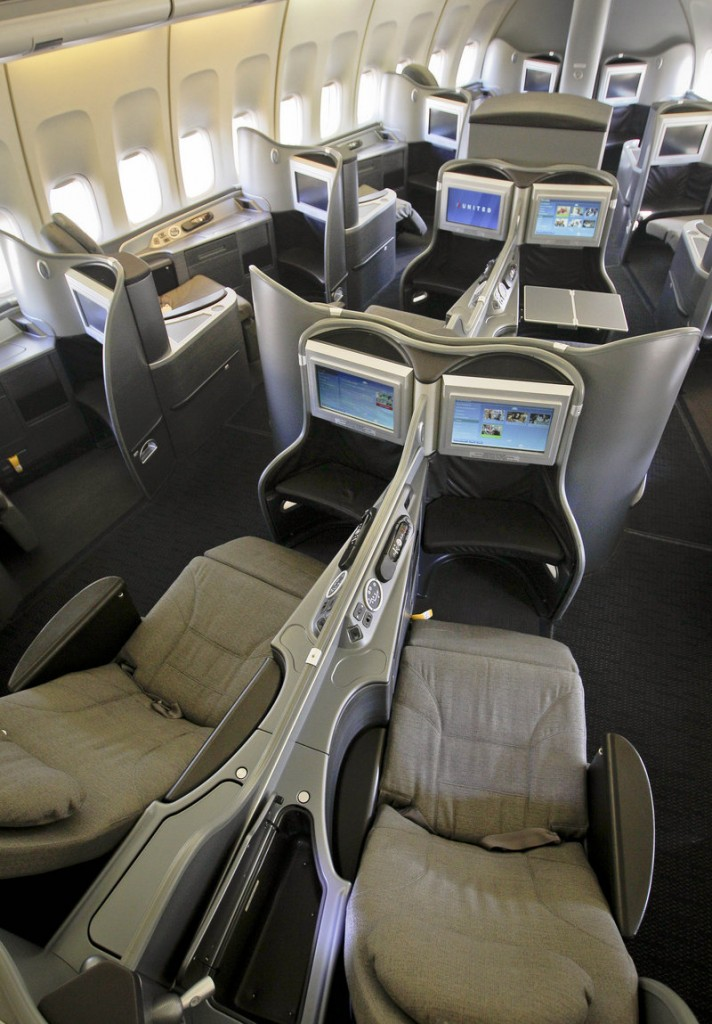Photo shows the new first-class interior section of a United Airlines 747 plane at San Francisco International Airport. U.S. airlines are spending nearly $2 billion to upgrade long-neglected lounges and aircraft. Their most-prized customers are getting new seats that turn into beds, large flat-screen TVs and savory food and wine.