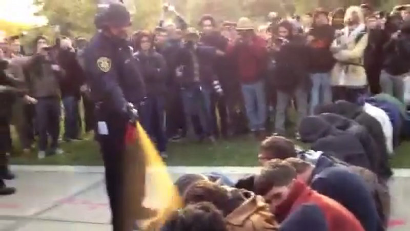 In this image made from video, an officer uses pepper spray as he walks down a line of Occupy demonstrators sitting on the ground at the University of California, Davis on Friday.