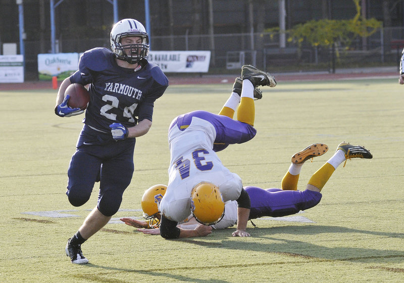 Anders Overhaug turns the corner on a 25-yard run on Yarmouth's first offensive play. He finished with six TDs as the Clippers beat Bucksport, 41-14.