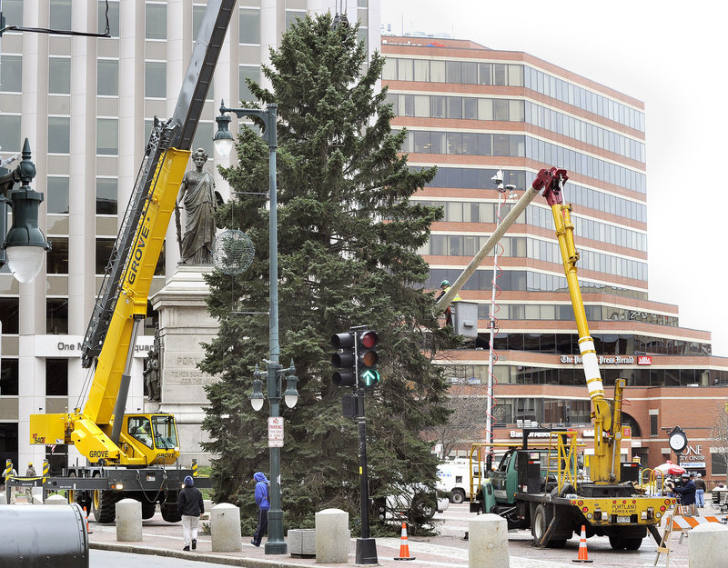 The annual lighting of the Christmas tree in Portland's Monument Square will be held on Friday. The tree is shown here being lowered into place in the square last week. Events, including entertainment by Rick Charette and the Bubble Gum Band, kick off at 5:30 p.m. Hannah Storey, an 11-year-old Make-A-Wish child from Cumberland, will flip the switch.